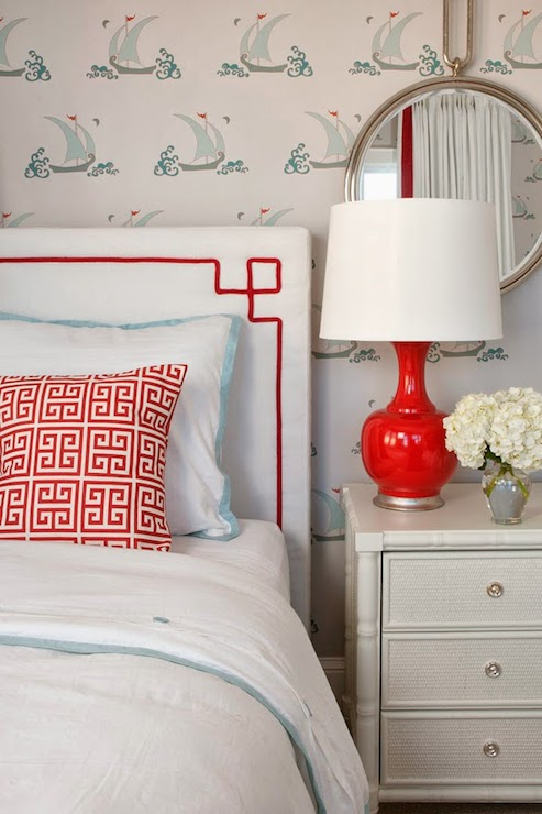 white rectangle headboard with red contrast trim via DecorPad