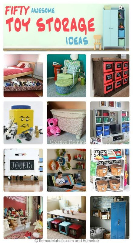 50 awesome toy storage ideas via Remodelaholic