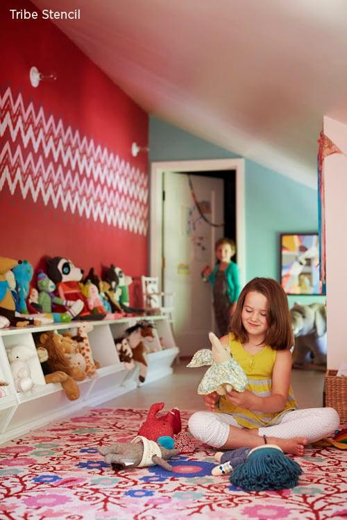 Stencilled Playroom