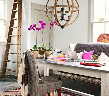 Home office with angled orchard ladder decor
