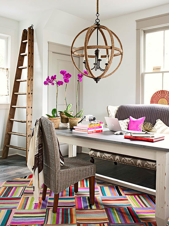 Bold office with decorative angled orchard ladder via Remodelaholic.com