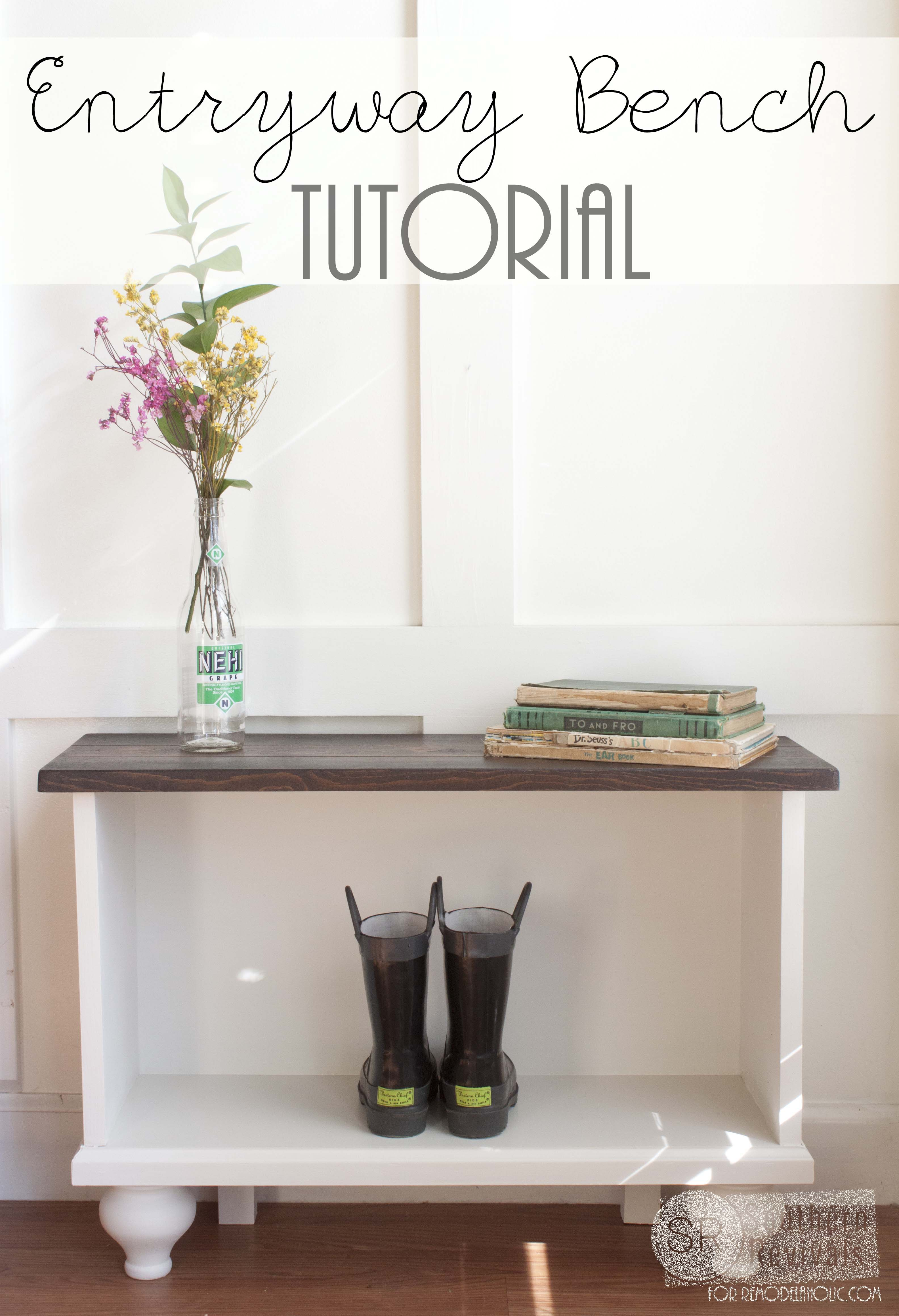 Build this easy entryway bench with storage! Free building plans on ...