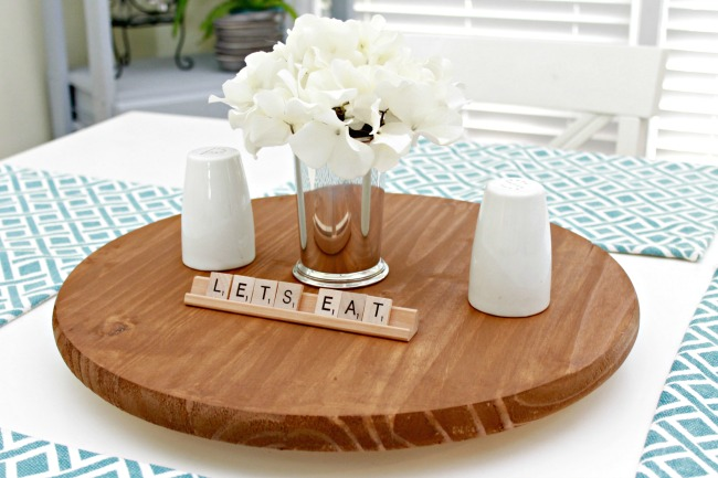 Elegant DIY Lazy Susan. Once Dried, I Placed It In The Middle Of The Table And  Added A Cute Centerpiece As Well As Our Salt And Pepper Shakers For Daily  Use.