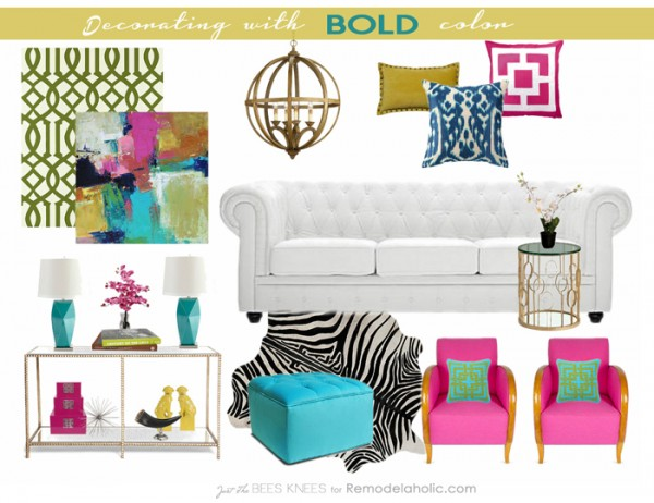 Decorating with BOLD color by Just The Bees Knees for Remodelaholic.com