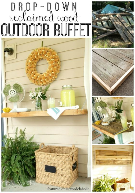 Drop-Down Outdoor Buffet Table | Simply Swider featured on Remodelaholic.com #outdoor #entertaining #reclaimedwood