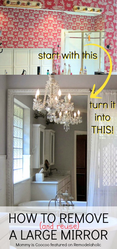 How To Remove (and Reuse) A Large Builder Grade Mirror On Remodelaholic.com