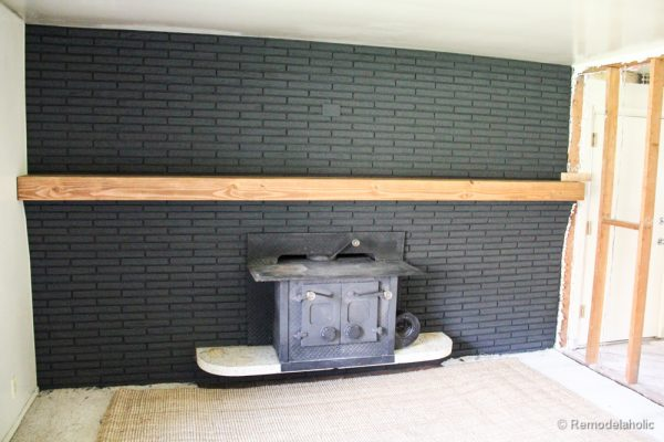 Remodelaholic | Easy Wood Mantel For Brick Fireplace