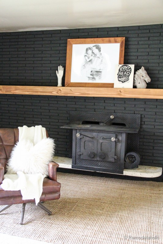 Remodelaholic painted black brick fireplace how to make a simple wood mantel remodelaholic diy mantel 12 of solutioingenieria Image collections