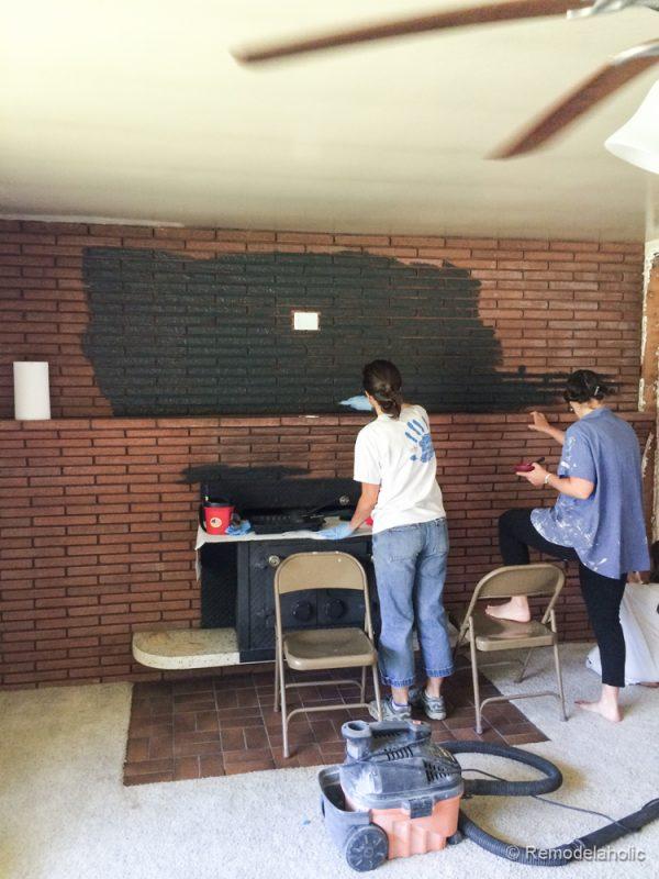 Fireplace Design paint brick fireplace : Remodelaholic | Painted Black Brick Fireplace