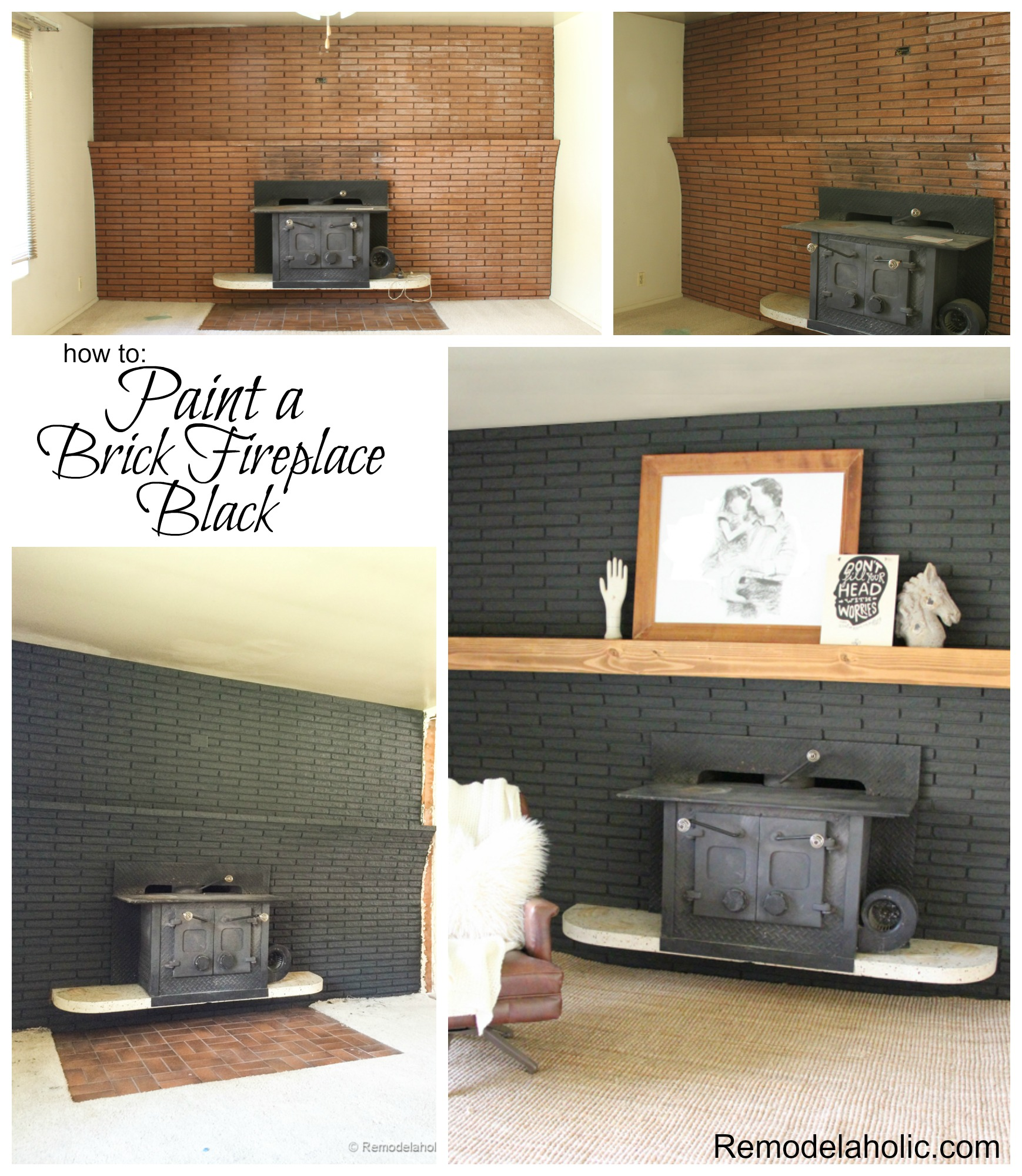 Remodelaholic decorating with black 13 ways to use dark for Colors to paint a fireplace