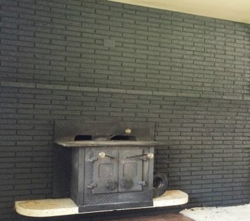 Painted Black Brick Fireplace