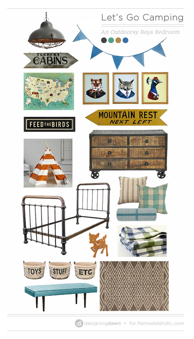 Outdoorsy Boy's Bedroom Mood Board | DesigningDawn on Remodelaholic.com #boysroom #kids #camping