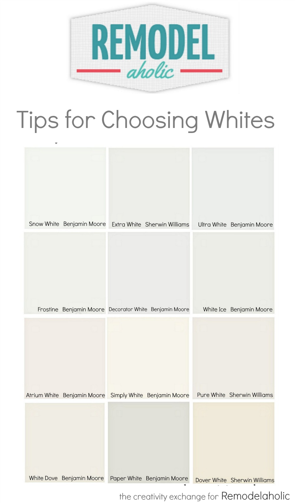 Remodelaholic tricks for choosing the perfect white for Choosing paint colors