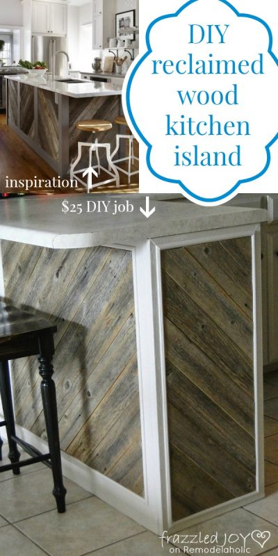 DIY Reclaimed Wood Kitchen Island, Frazzled Joy on Remodelaholic.com #reclaimedwood #recycle #kitchenisland