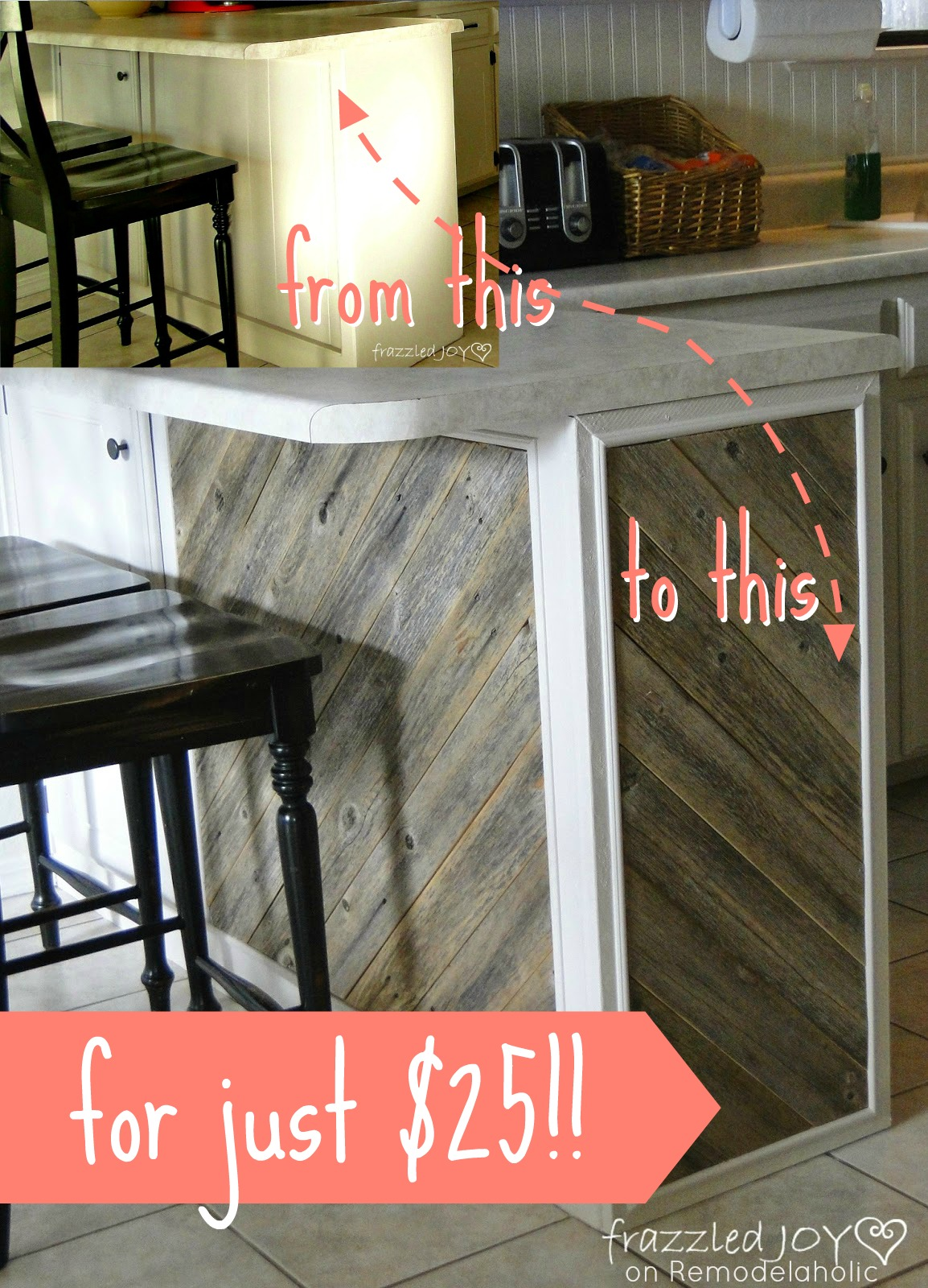 $25 Rustic Reclaimed Wood Plank Kitchen Island Tutorial, Frazzled Joy On  Remodelaholic.com #