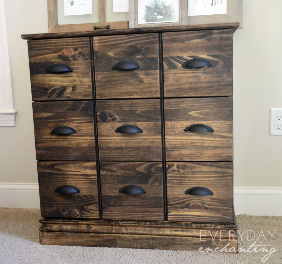 Ikea Galant Roll Front Cabinet ~ Ikea Tarva Dresser to Pottery Barn Apothecary Cabinet Hack