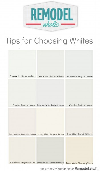Tricks for easily choosing white paint colors. Remodelaholic