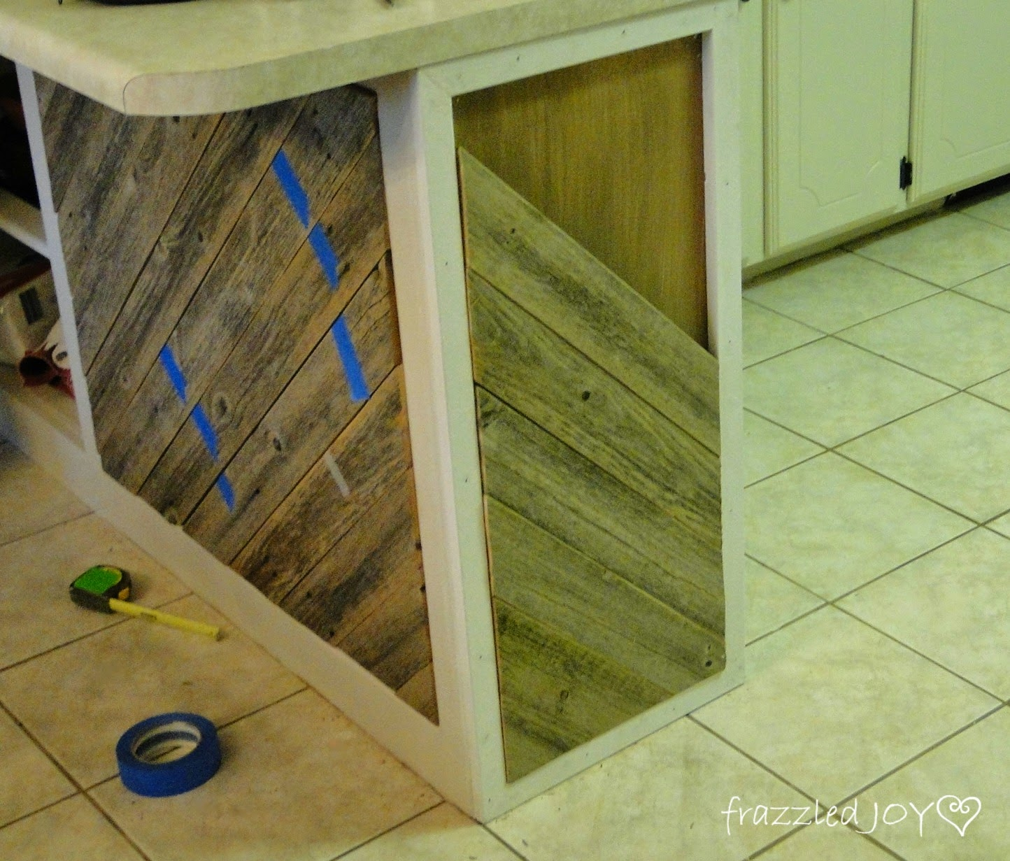 New add diagonal planks to a kitchen island Frazzled Joy on Remodelaholic
