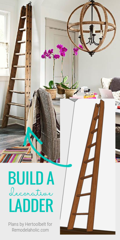 Build A Decorative DIY Ladder, Vintage Wood Orchard Ladder, Remodelaholic