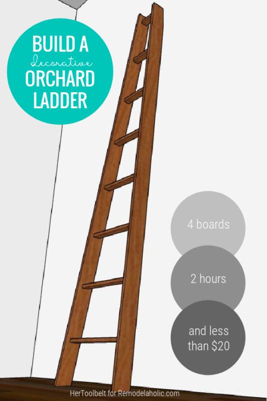 Build A Decorative Vintage Wood Angled Orchard Ladder DIY Plans, Remodelaholic