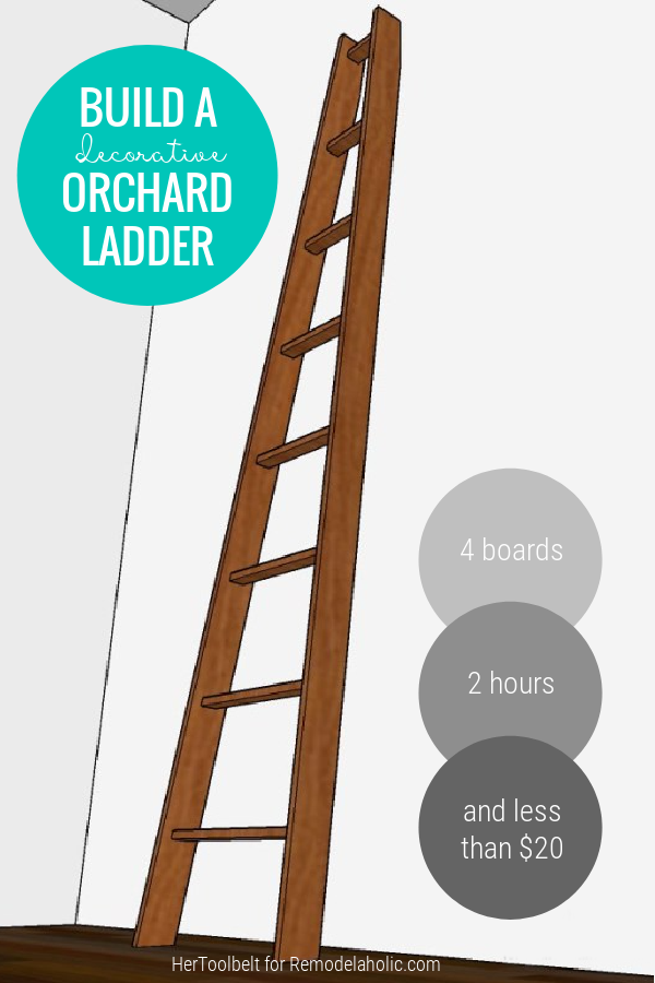 Build A Decorative Vintage Wood Angled Orchard Ladder DIY Plans, Remodelaholic