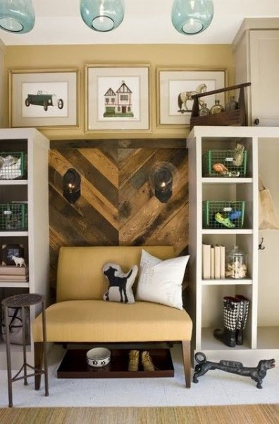 chevron herringbone plank wall section