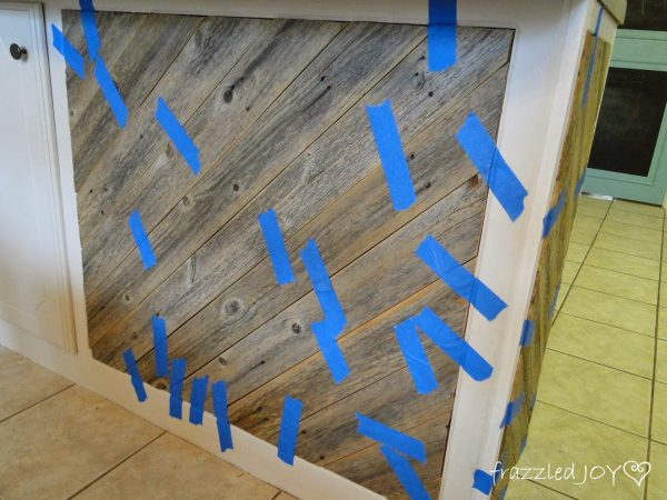 diagonal planked kitchen island diy tutorial, Frazzled Joy on Remodelaholic