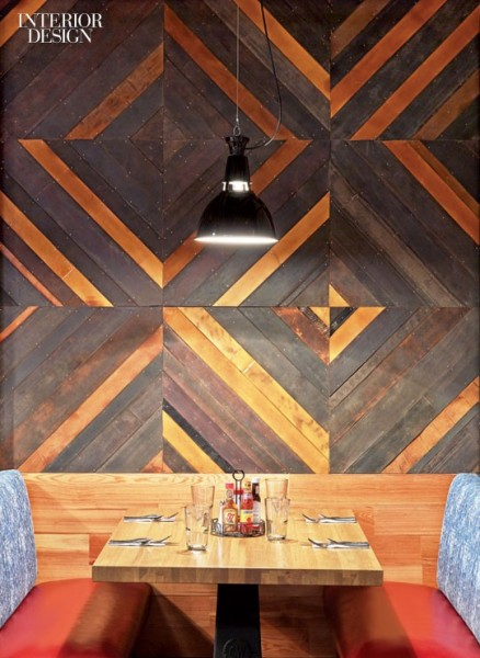 diagonal planked tile wall