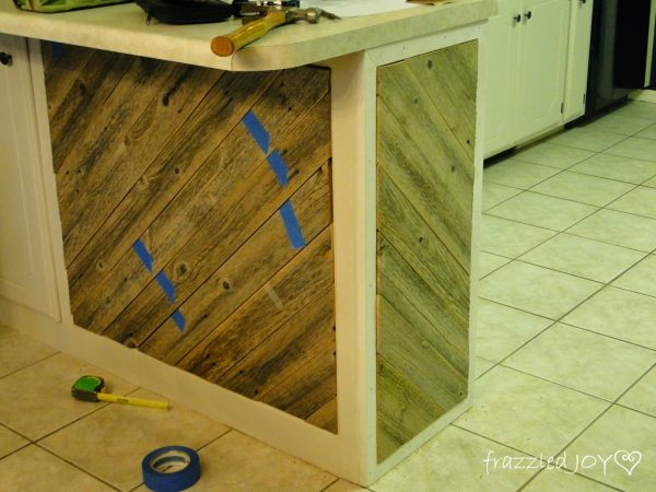 dry fit diagonal planked kitchen island accent pieces, Frazzled Joy on Remodelaholic
