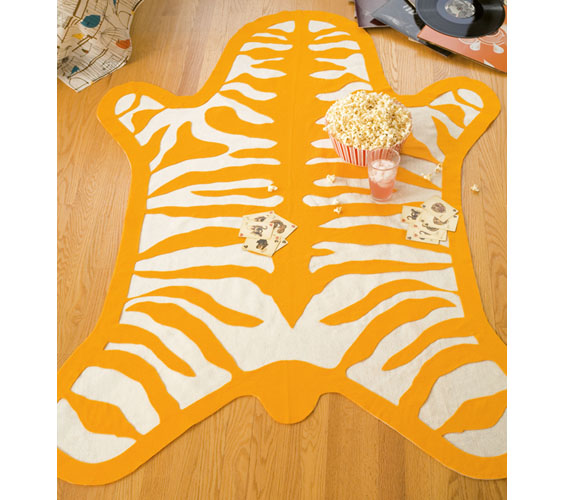 faux zebra rug