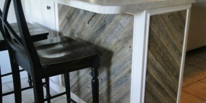 feature finished reclaimed wood diagonal planked kitchen island, Frazzled Joy on Remodelaholic