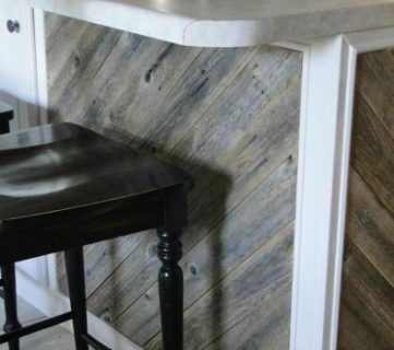 Diagonal Planked Reclaimed Wood Kitchen Island