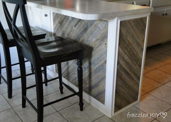 finished reclaimed wood diagonal planked kitchen island, Frazzled Joy on Remodelaholic