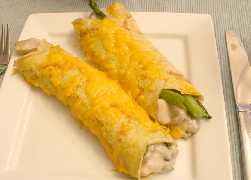 Chicken, Asparagus, and Mushroom Crepes