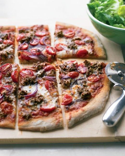 Hamburger and Grape Tomato Pizza