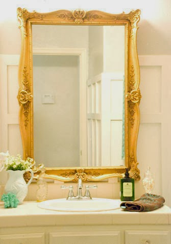 gold frame bathroom mirror remodelaholic how to remove and reuse a large builder 18530