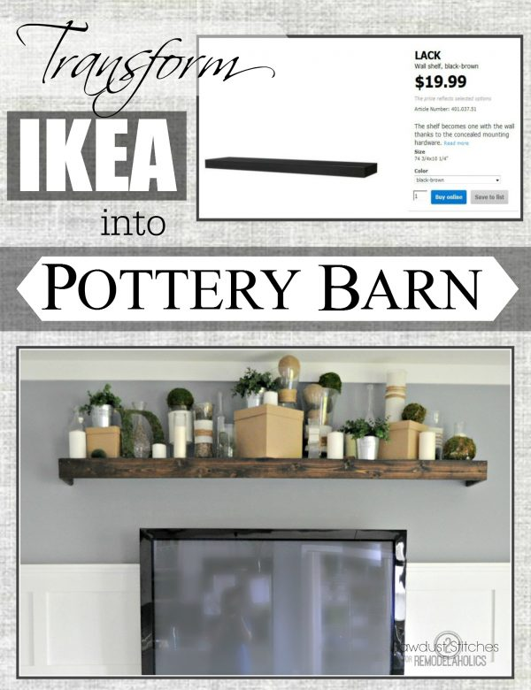 Easily turn an Ikea floating shelf into a Pottery Barn knock off.  #ikeahack #potterybarndecor #diy @Remodelaholic