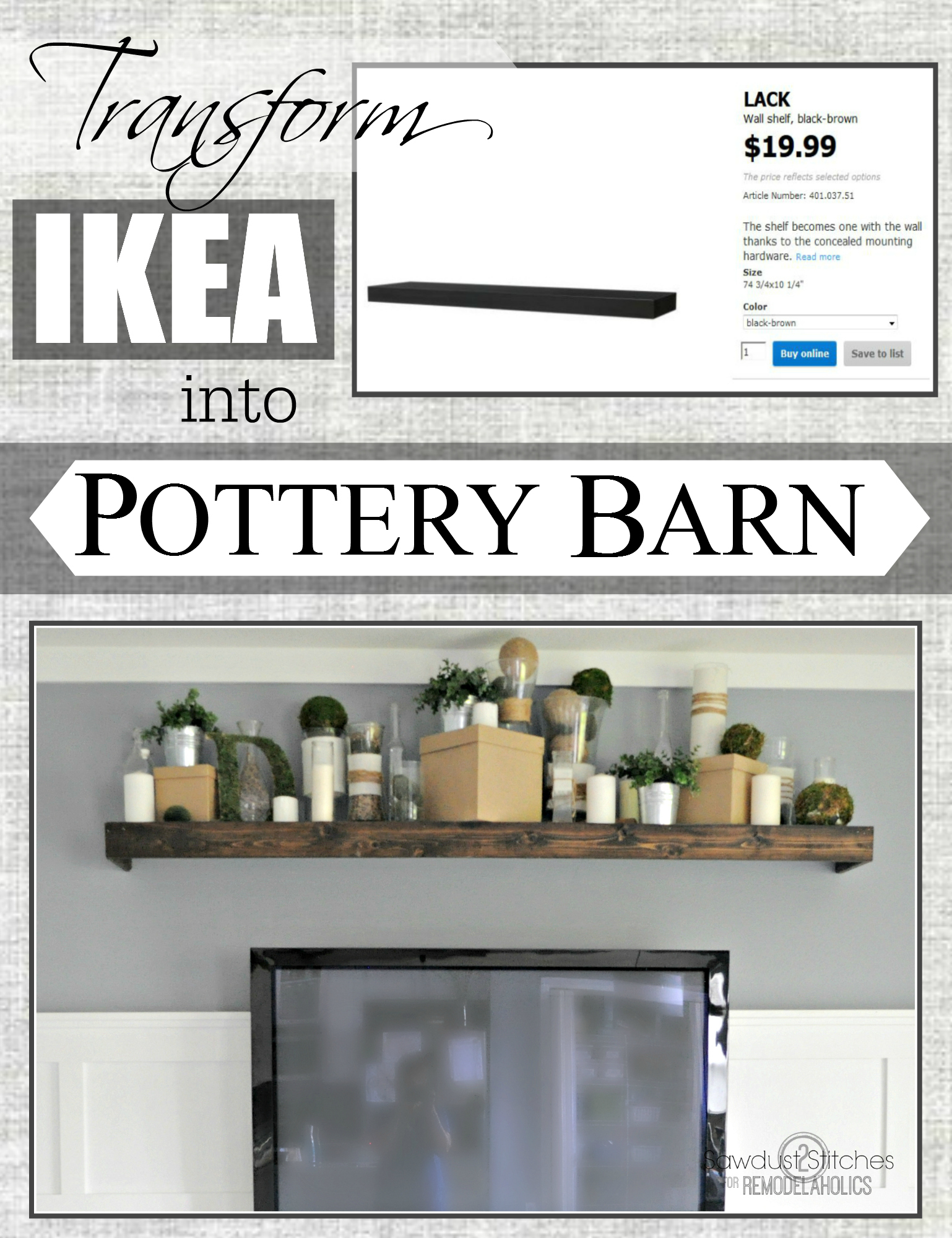 easily turn an ikea floating shelf into a pottery barn knock off ikeahack