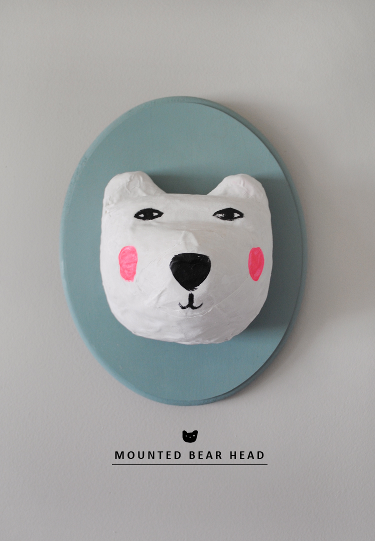 paper nache mounted bear head