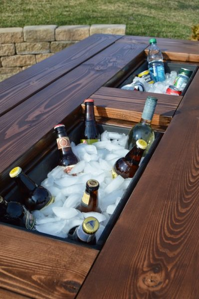 patio table with built-in ice boxes, via Remodelaholic