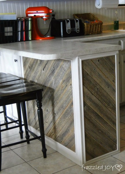 reclaimed wood planked kitchen island, Frazzled Joy on Remodelaholic