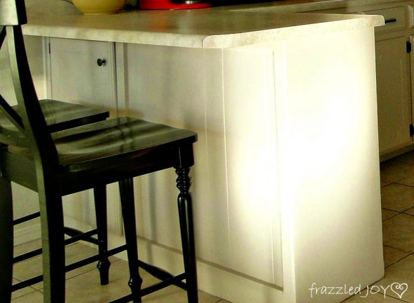 reclaimed wood planked kitchen island before, Frazzled Joy on Remodelaholic
