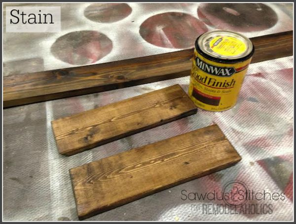 Staining boards for Ikea Lack Shelf Hack