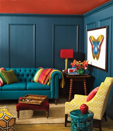 teal walls with bold ceiling