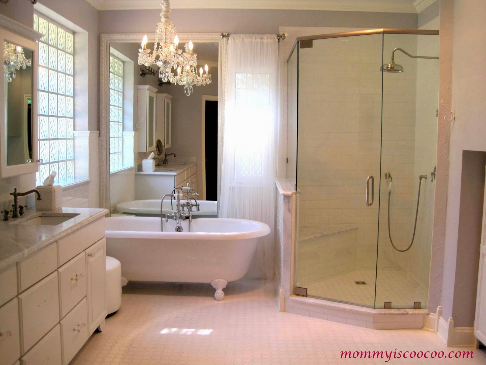 Superb white master bathroom makeover Mommy is Coocoo on Remodelaholic
