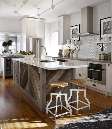 Waterfall Kitchen Island Inspiration: Diagonal Planked Reclaimed Wood Kitchen Island