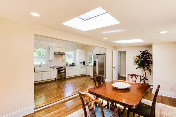 3 white kitchen and dining with open floor plan, Cobblestone DG on Remodelaholic