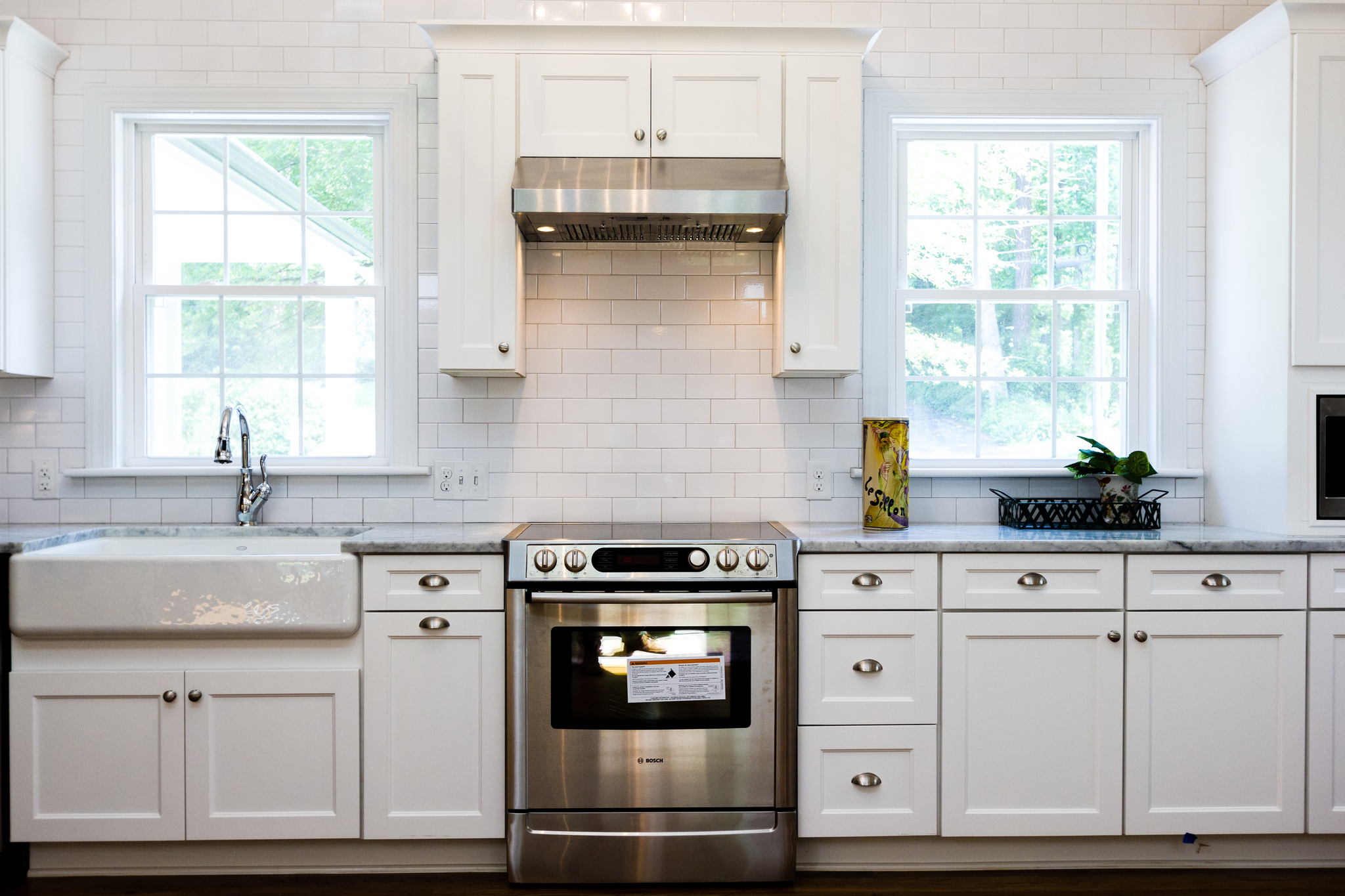 6 Renovated Kitchen With White Subway Tile Marble And Farmhouse Sink Cobblestone Dg On Remodelaholic