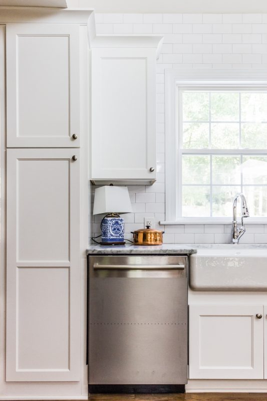 9 white kitchen with shaker cabinets and marble countertops, Cobblestone DG on Remodelaholic