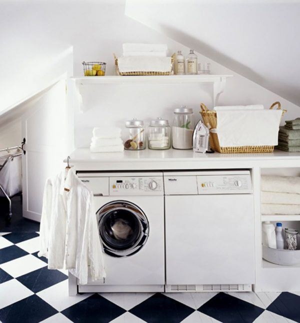 An attic can be a great space for a laundry room featured on Remodelaholic.com